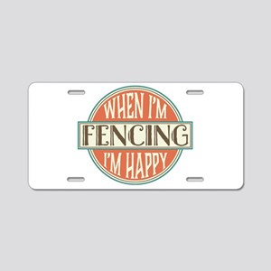 happy fencer Aluminum License Plate